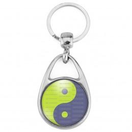 Porte Clés Métal 2 Faces Logo 3cm Yin Yang Vert Anis Gris Harmonie Equilibre Feng Shui Paix Peace Amour Love