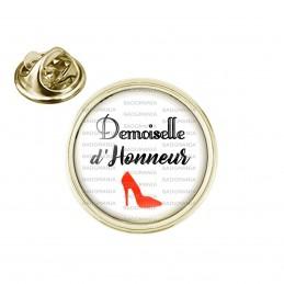Pin's rond 2cm doré Demoiselle d'Honneur - Escarpin Rouge Mariage Cérémonie