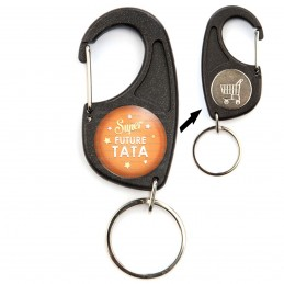 Porte-Clés Mousqueton Jeton Caddie Super Future TATA - Etoiles Fond Orange