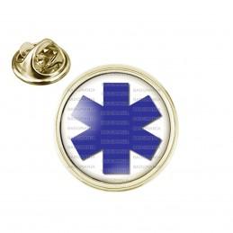 Pin's rond 2cm doré Croix de Vie Santé Ambulance
