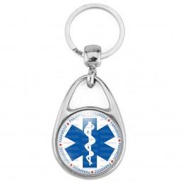 Porte Clés Métal 2 Faces Logo 3cm Croix de Vie Paramedic Caducée Santé