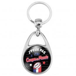 Porte Clés Métal 2 Faces Logo 3cm J'peux pas j'ai Coupe du Monde - Ballon Ovale - Fond Noir