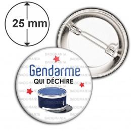 Badge 25mm Epingle Gendarme qui déchire - Couvre Chef Fond Blanc