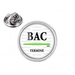 Pin's rond 2cm argenté BAC Terminé - Progression 100% Fond Blanc