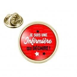 Pin's rond 2cm doré Je suis une infirmière qui déchire - Etoiles fond rouge