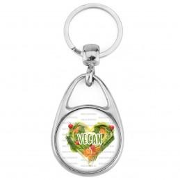 Porte Clés Métal 2 Faces Logo 3cm Vegan Forme COEur en Légumes