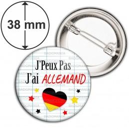 Badge 38mm Epingle J'peux Pas J'ai Allemand - Coeur Quadrillage