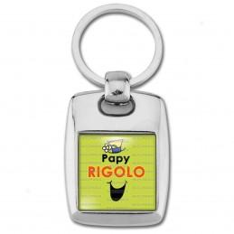 Porte Clés Rectangle Acier 2 Faces Papy Rigolo - Fond vert