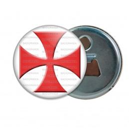 Décapsuleur 6cm Aimant Magnet Ordre du Temple Templier Croix Templière Rouge Fond Blanc