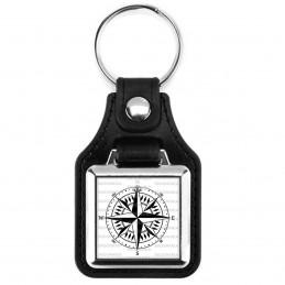 Porte-Clés Carré Cuir Vegan Compas Boussole 3 - Symbole Marin