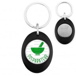 Porte-Clés Noir Ovale Jeton Caddie Préparateur en Pharmacie Mortier Vert Fond Blanc
