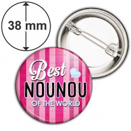 Badge 38mm Epingle Best nounou of the world - Fond rayé Rose