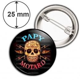 Badge 25mm Epingle Papy Motard - Tête de mort