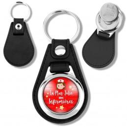 Porte-Clés Cuir Vegan Rond Jeton Caddie La plus jolie des Infirmières - Tête Fond Rouge