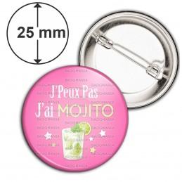 Badge 25mm Epingle J'Peux Pas J'ai Mojito - Verre Aperitif fond rose