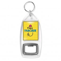 Porte Clés Décapsuleur Papy Farceur - Fond jaune