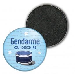 Magnet Aimant Frigo 3.8cm Gendarme qui déchire - Couvre Chef Fond Bleu