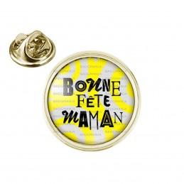 Pin's rond 2cm doré Bonne Fête Maman - Fond Gris Jaune