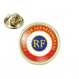 Pin's rond 2cm doré Cocarde Tricolore Conseiller Départemental RF Bleu Blanc Rouge