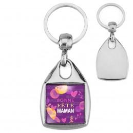 Porte-Clés Carré Acier Bonne Fête Maman - Violet Cœurs