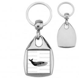 Porte-Clés Carré Acier Baleine - Animal Symbole Marin