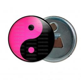 Décapsuleur 6cm Aimant Magnet Yin Yang Rose Fuschia Noir Harmonie Equilibre Feng Shui Paix Peace