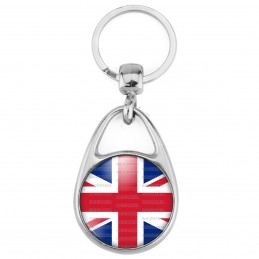 Porte Clés Métal 2 Faces Logo 3cm Drapeau Royaume-Uni Union Jack Flag Angleterre Anglais