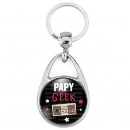 Porte Clés Métal 2 Faces Logo 3cm Papy Geek