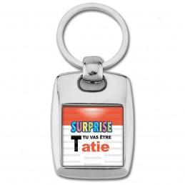 Porte Clés Rectangle Acier 2 Faces SURPRISE Tu vas être TATIE - Logo Œufs Chocolats