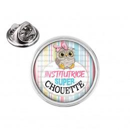 Pin's rond 2cm argenté Institutrice Super Chouette Fond Multicolore
