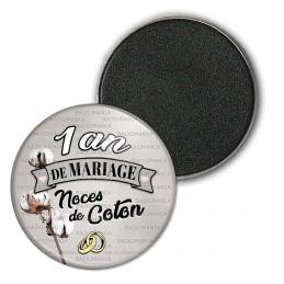 Magnet Aimant Frigo 3.8cm 1 ans de Mariage Noces de Coton - Anneaux Anniversaire Mariage