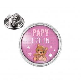 Pin's rond 2cm argenté Papy Câlin - Ourson