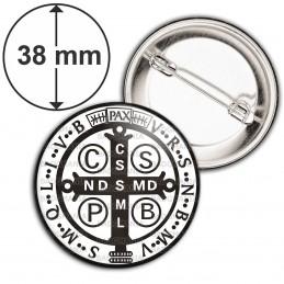 Badge 38mm Epingle Medaille Croix de Saint Benoit Blanc Noir Exorcisme Benediction