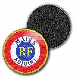 Magnet Aimant Frigo 3.8cm Cocarde RF Bleu Blanc Rouge Maire Adjoint Ecriture Bleue