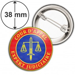 Badge 38mm Epingle Cocarde Bleu Rouge Expert Judiciaire Cours d'Appel Texte Or