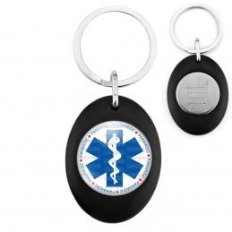 Porte-Clés Noir Ovale Jeton Caddie Croix de Vie Paramedic Caducée Santé