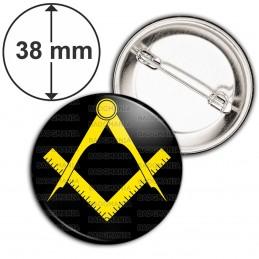 Badge 38mm Epingle Compas Equerre Francs-Maçons Symbole Maçonnique Jaune Fond Noir