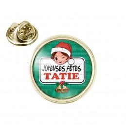 Pin's rond 2cm doré Joyeuses Fêtes TATIE Noël Gui Cloches