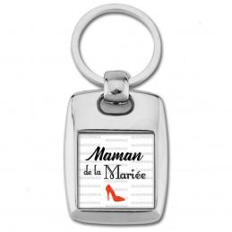 Porte Clés Rectangle Acier 2 Faces Maman de la Mariée - Escarpin Rouge Mariage Cérémonie