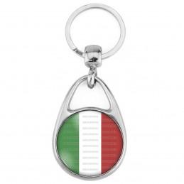 Porte Clés Métal 2 Faces Logo 3cm Drapeau Italien Italie Italy Flag Tricolore Vert Blanc Rouge