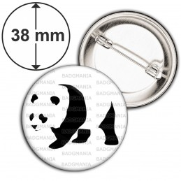 Badge 38mm Epingle Panda Géant Ursidés Animal Chine Noir et Blanc