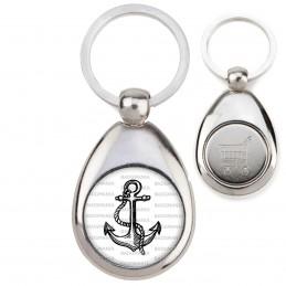 Porte-Clés Acier Goutte Jeton Caddie Ancre de Marine - Symbole Marin