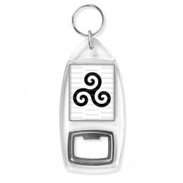 Porte Clés Décapsuleur Triskell Symbole Celte Celtique Breton Bretagne Noir Fond Blanc