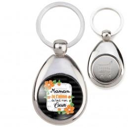 Porte-Clés Acier Goutte Jeton Caddie Maman je t'aime de tout mon cœur - Fleurs Orange Fond Noir