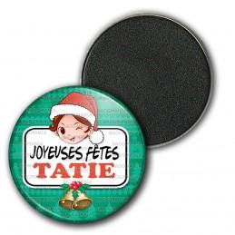 Magnet Aimant Frigo 3.8cm Joyeuses Fêtes TATIE Noël Gui Cloches