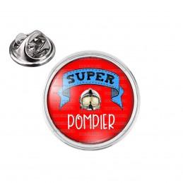 Pin's rond 2cm argenté Super POMPIER