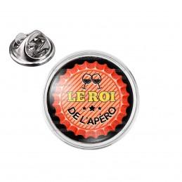 Pin's rond 2cm argenté Le Roi de l'Apéro - Capsule bière Rouge
