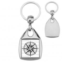 Porte-Clés Carré Acier Compas Boussole 1 - Symbole Marin