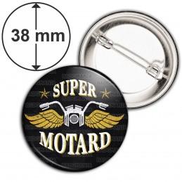Badge 38mm Epingle Super Motard - Moto Ailes Or Fond Noir
