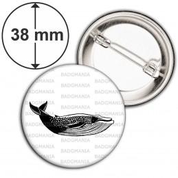 Badge 38mm Epingle Baleine - Animal Symbole Marin